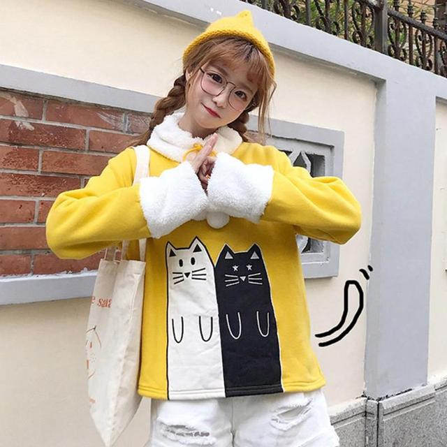 Christmas Lovely Cats Print Winter Hoodies Sweatshirt 2019 Women Female Warm Fleece Xmas Autumn Tops Women Long Sleeve Coat  2