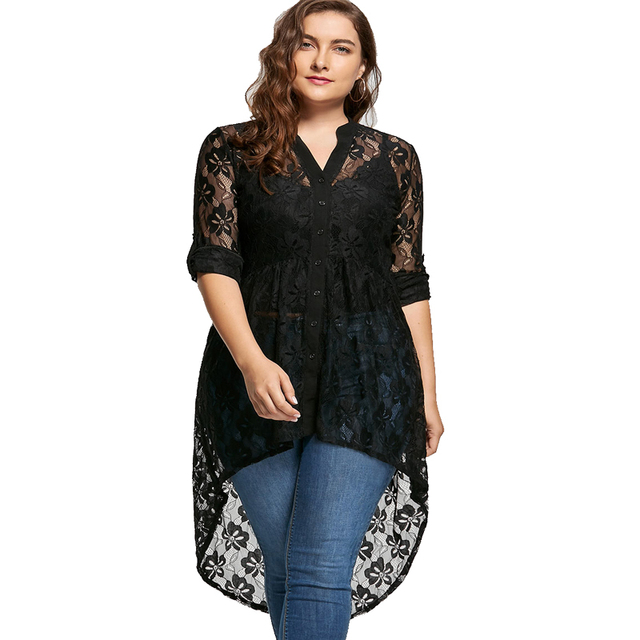 Wipalo Plus Size Lace Summer Women Top Long Sleeve V Neck High Low Hem  Black Shirt Tops 2019 Fall Fashion Blusas Femininas 5XL acc8f5ce213c