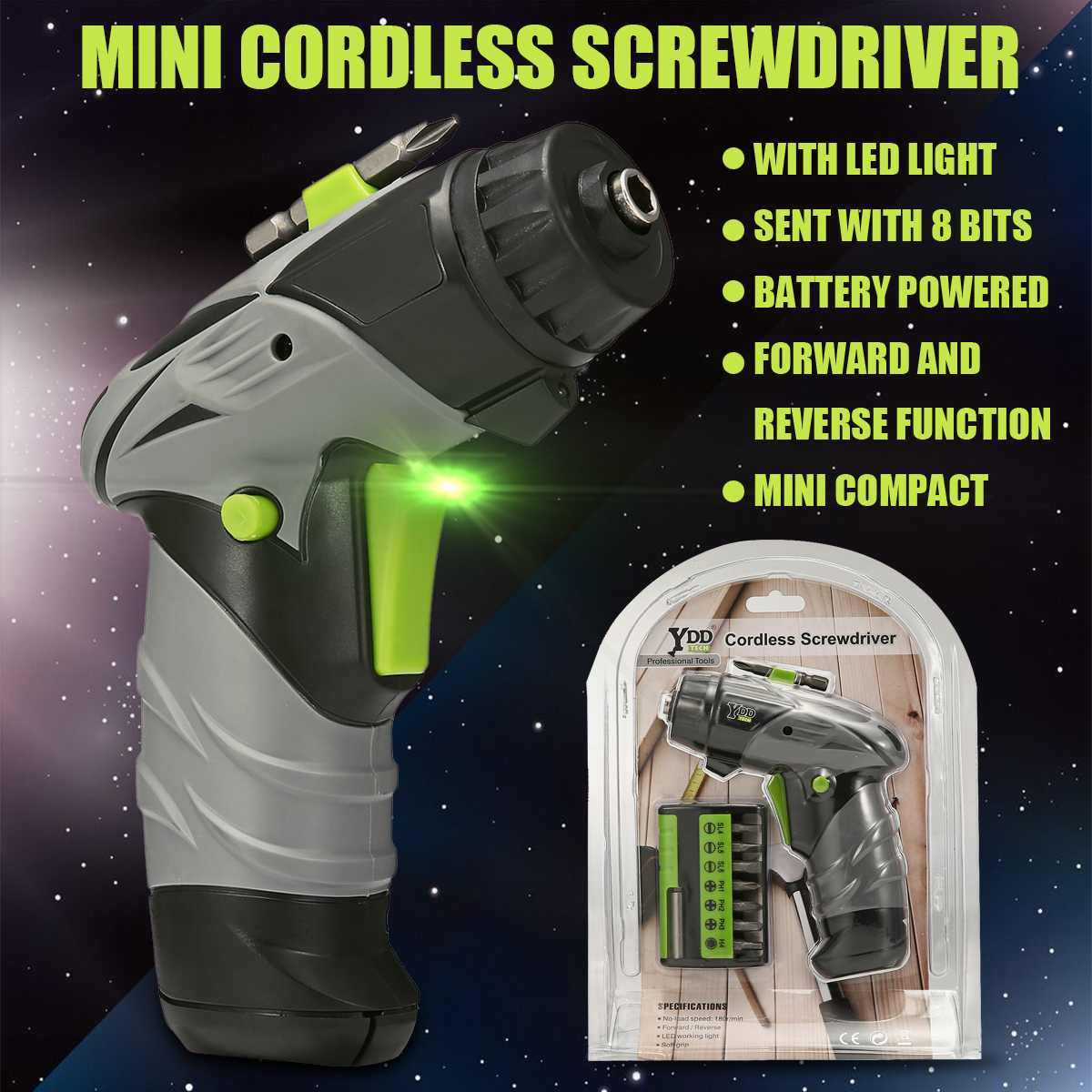 6V Cordless Electric Drill Battery Powered Mini Screwdriver Set Power Tool with Work Light/7pcs Drill Household DIY Power Tools