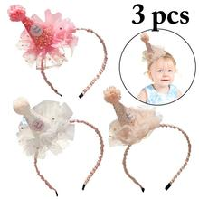 3PCS Childrens Princess Hair Accessories Wild Cute Girl Jewelry Lace Crown Headband