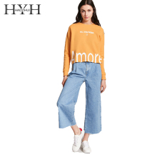 HYH HAOYIHUI 2018 Autumn Casual Simple Letter Print Pattern Hem Raw Edge Round Neck Drop Shoulder Long Sleeve  Women Top