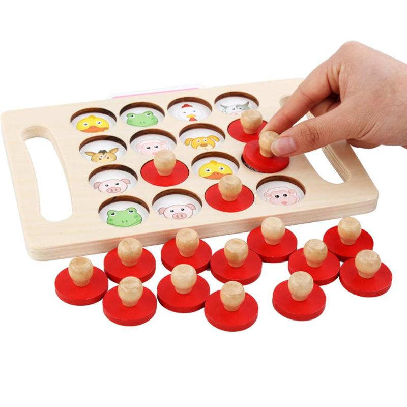 Kids Early Education Wooden Toys Memory Match Chess Game Guess Animal Cognitive Toy Family Party 3D Puzzles Toys For Children