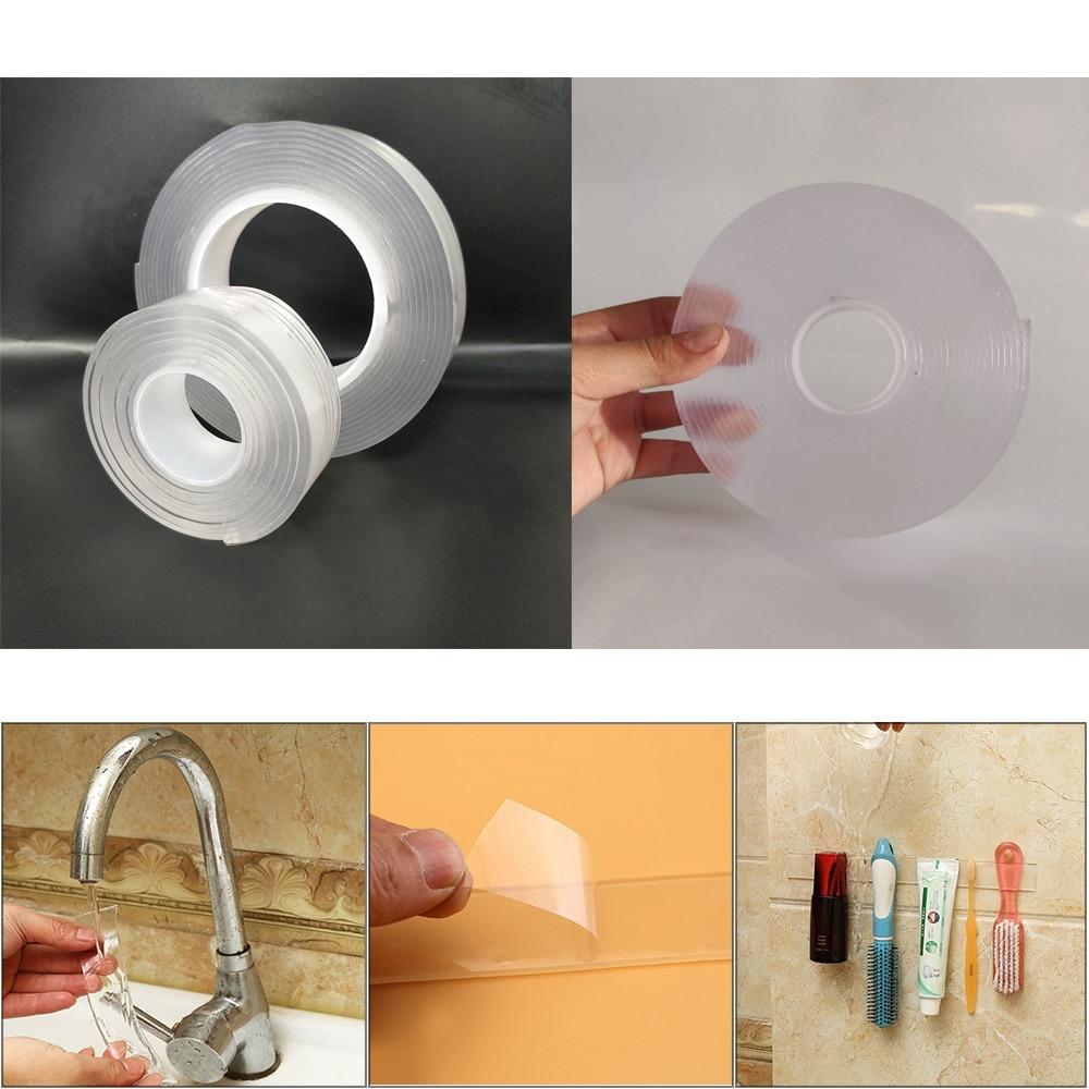 1m/2m/5m Reusable Transparent Double-sided Tape Multi-function Nano Washable Magic Acrylic Super Fixed Traceless Tape 1/2/3mm 3