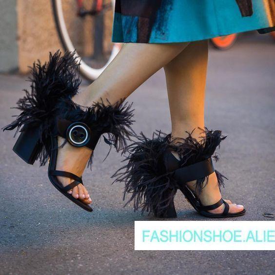 8f47e7bb7 Do Mulher Chique Fivela Designer Runway Lateral As Pic Dedo Pena Quadrados  Hot Pé Sapatos De Summer Aberto Mujer Pic Alto as Salto ...