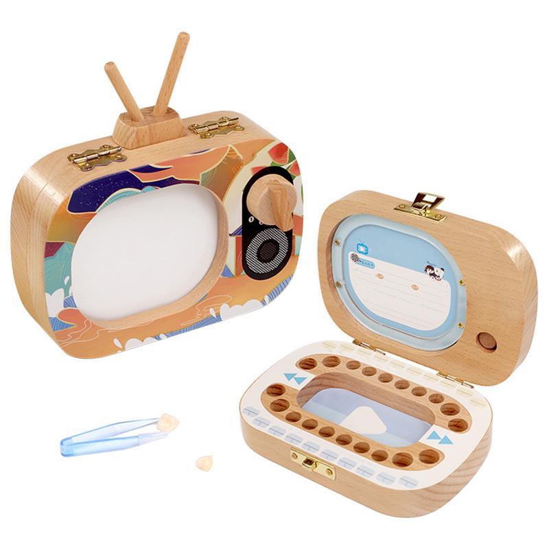 1Pc Baby Tooth Box Wooden Milk Teeth Organizer Storage Boys Girls TV Shaped Save Souvenir Case Gift Creative Baby Tooth Organize