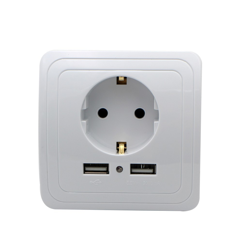 EU Plug Socket Dual USB Port Power Outlet 2000mA 16A EU Smart Home Wall Charger Adapter Charging Socket With Usb Wall Adapter in Electrical Sockets from Home Improvement