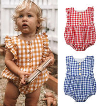 Newborn Infant Baby Girl Ruffle Plaid Romper Sleeveless Jumpsuit One Piece Outfi