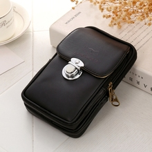 Simple Mens Pu Double-Layer Mobile Phone Pockets Single Pull High-End