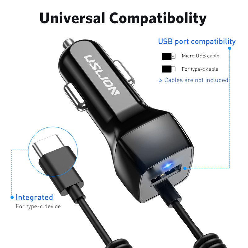 Image 5 - USLION USB Car Phone Charger For Samsung S10 S9 Plus Car charger Micro USB Type C Cable Fast Quick Charge For Xiaomi Huawei SONY-in Car Chargers from Cellphones & Telecommunications