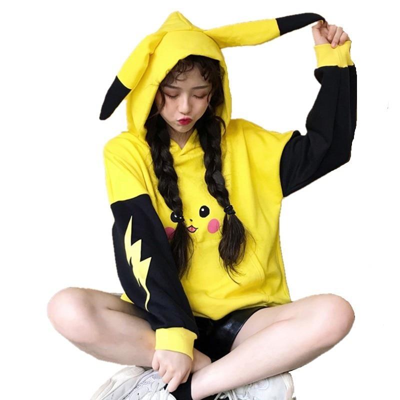 Women Pokemon Pikachu Print Hoodies Anime Kawaii Girls Cute Long Ears Oversized Hooded Sweatshirts Plus Velvet Autumn Pullovers
