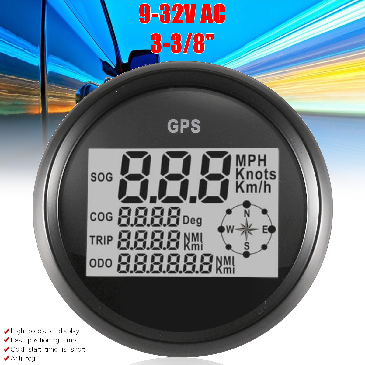 85mm 9-32VDC Digital GPS Speedometer Car Boat Motorcycle Truck fogproof Waterproof Universal Speedometer Gauge Electric Equipmen85mm 9-32VDC Digital GPS Speedometer Car Boat Motorcycle Truck fogproof Waterproof Universal Speedometer Gauge Electric Equipmen
