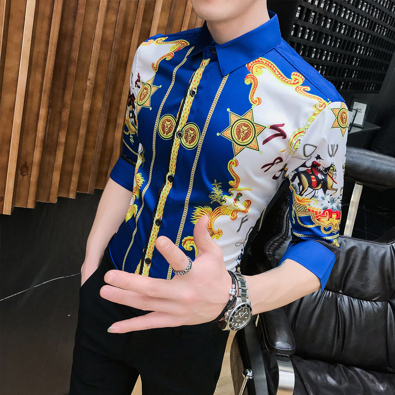 High Quality Fashion Summer Slim Fit Dress Shirts Male Half Sleeve Print Hairstylist Work Shirt Man New Pattern Tuxedo Shirt Men-in Casual Shirts from Men's Clothing