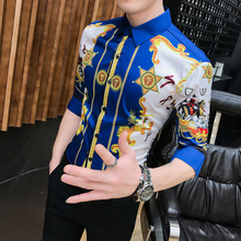 NSTOPOS Summer Slim Fit Dress Shirts Male Half Sleeve Print Hairstylist Work Shirt