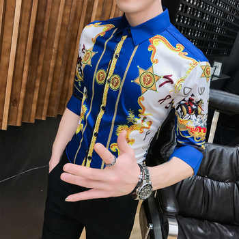 High Quality Fashion Summer Slim Fit Dress Shirts Male Half Sleeve Print Hairstylist Work Shirt Man New Pattern Tuxedo Shirt Men - DISCOUNT ITEM  43% OFF All Category