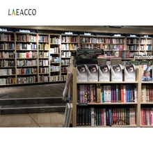 Laeacco Library Interior Bookshelf  Books Photography Backgrounds Customzied Photographic Backdrops For Photo Studio