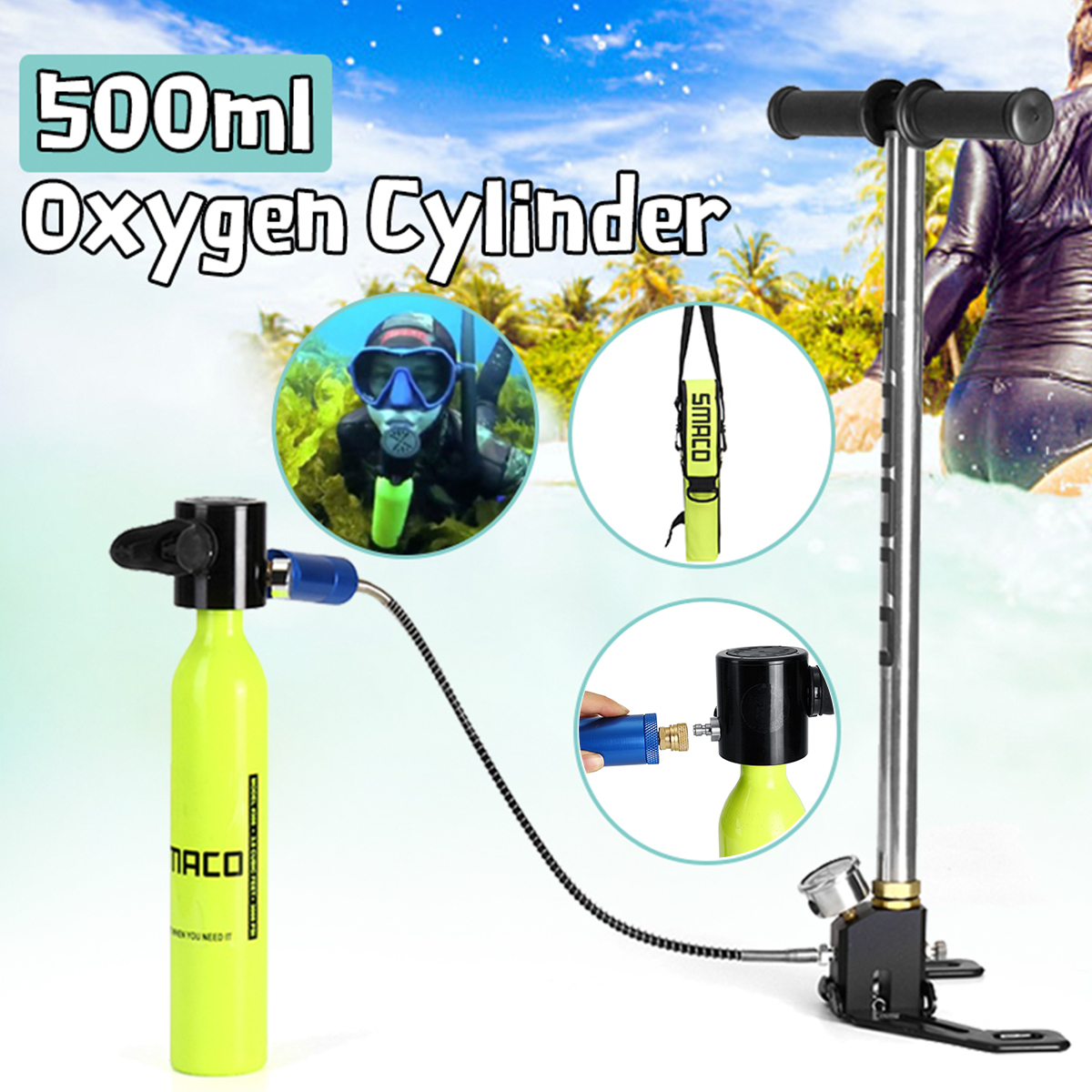 0.5L Portable Mini Scuba Oxygen Cylinder Air Tanks Diving Equipment For Snorkeling Underwater Breathing Pump And Respirator Bag