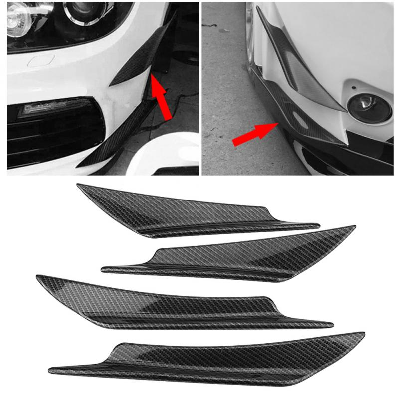 Carbon Fiber Car Front Bumper Splitter Fin Spoiler Canards Exterior Body