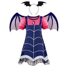 купить AmzBarley Girls Halloween Cosplay vampire Costume Fancy toddler Party Dress for kids Children clothing with Wing Headband онлайн