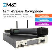 Zmvp profissional 335 g3 uhf microfone sem fio karaoke sistema com transmissor de mão para a fase de fala vocal ao vivo obter 3 banda
