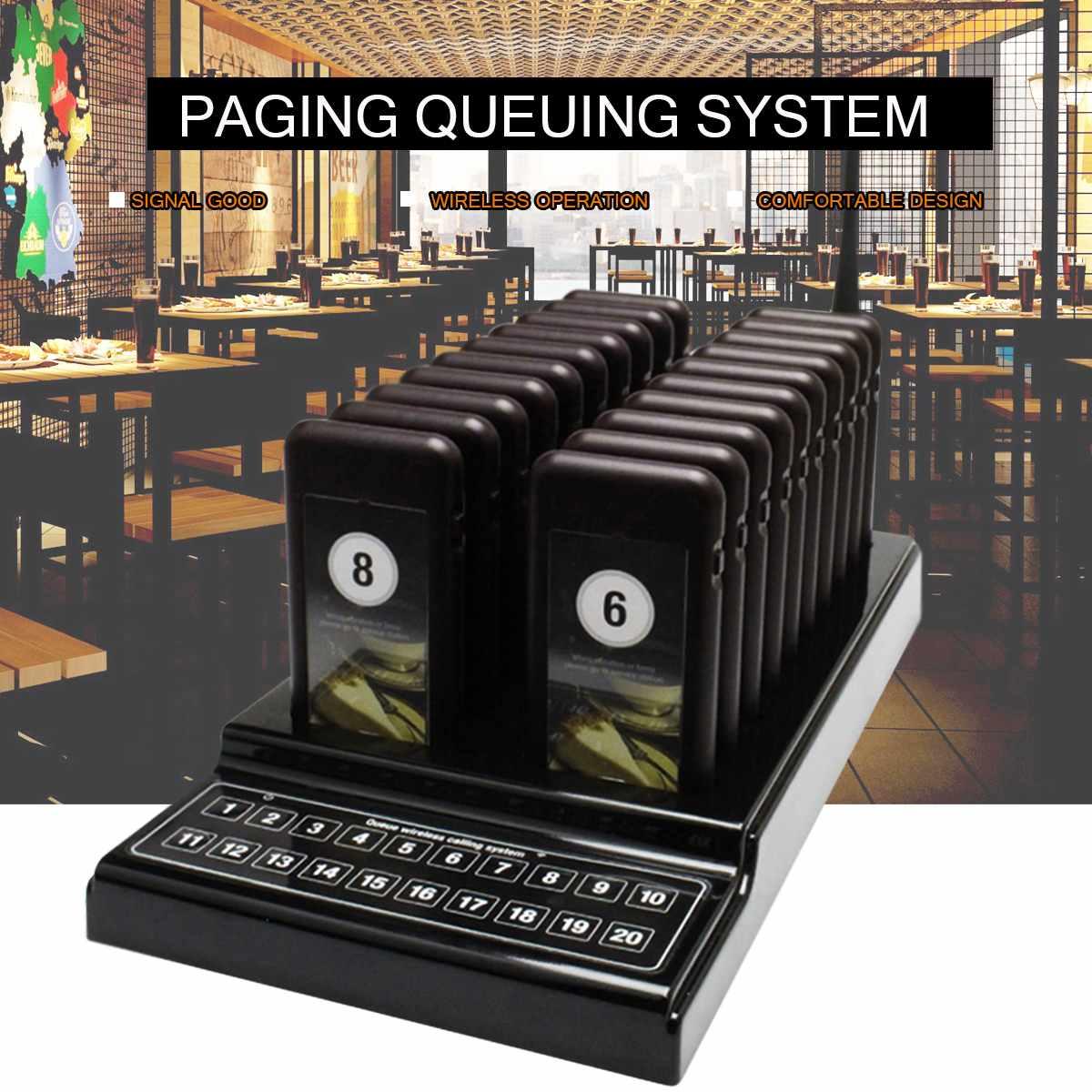 Système de mise en file d'attente sans fil de téléavertisseur de Restaurant 999 canaux 1 transmetteur + 20 équipements de téléavertisseur