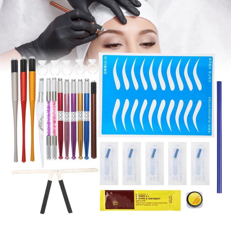 Augenbraue Make-up Lineal Manuelle Pen-set Augenbraue Positionierung Schablone Tattoo Gestaltung Messen Tattoo Tinte Körper Malerei Werkzeuge BüGeln Nicht