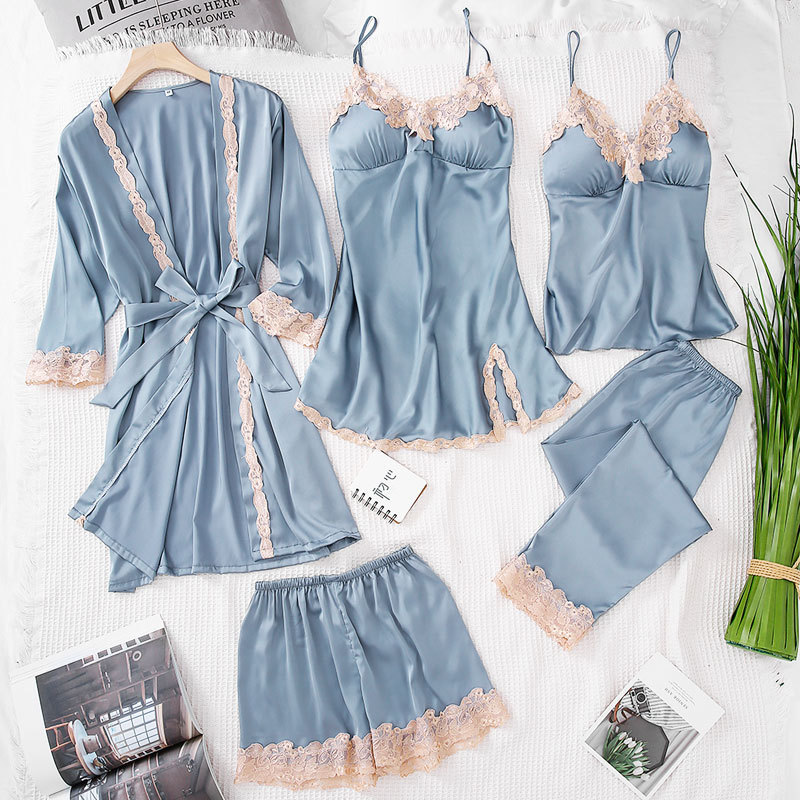 5 Pcs Lace Sexy Lace Women   Pajama     Set   Icel Silk Soft With Chest Pad Nightdress With Belt Cadrigan Fashion Sleepwear   Set