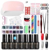 Full Manicure Set With Lamp Nail Kit 6W UV LED Lamp For Nail Art Sets UV Gel Nail Polish Set Tools For Manicure