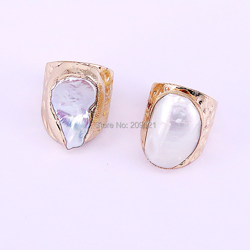 Image 2 - NEW Charm 6Pcs Gold Electroplated Natural Fresh Water Pearl Shell  Rings Fashion Woman Jewelry Copper RingsRings