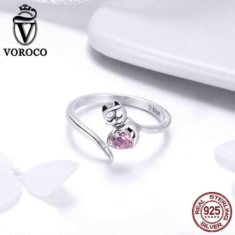 2018 VOROCO วินเทจของแท้ 925 เงินสเตอร์ลิงแมวน่ารักแหวนสำหรับงานแต่งงานครบรอบเครื่องประดับของขวัญผู้หญิง Chic ของขวัญ BKR446