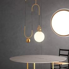 Modern LED Pendant Lamp Metal LED Pendant Light Lighting Dining Room Bar Bedroom Lounge Lifting Glass Ball Hanging Lamp Fixtures