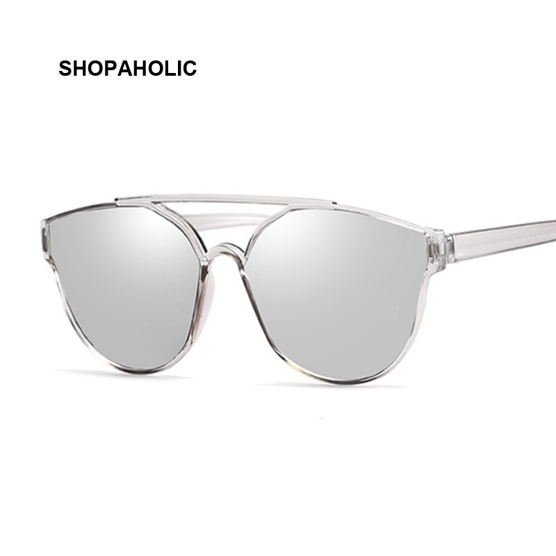 New Vintage Sliver Cat Eye Sunglasses Women Fashion Brand Designer Mirror Cateye Sun Glasses For Female Shades UV400