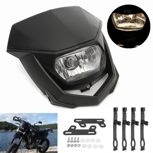 12V 8000lm <font><b>Universal</b></font> <font><b>Dirt</b></font> <font><b>Bike</b></font> Halo <font><b>Headlight</b></font> Headlamp Black Motorcycle Enduro For KTM CRF XR WRF YZF DRZ KLX YM-004 image