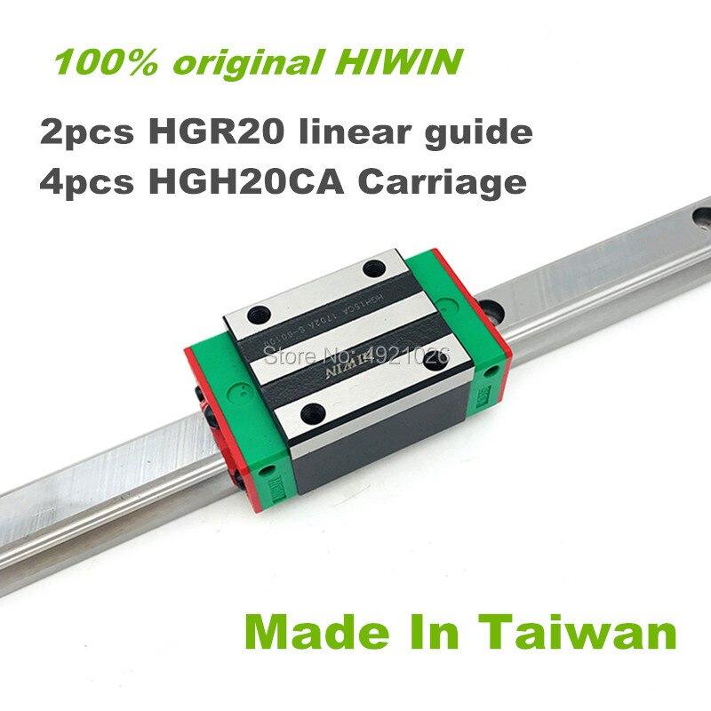 Free shipping 100% original HIWIN 2pcs HGR20 200 300 400 500 600 700 800 1000mm Linear Guide rail + 4pcs HGH20CA HIWIN Carriage