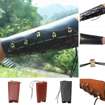 Archery Arm Guard Leather Restraint Protector Guard Pull Bow Protect Arm for Shooting Hunting 1