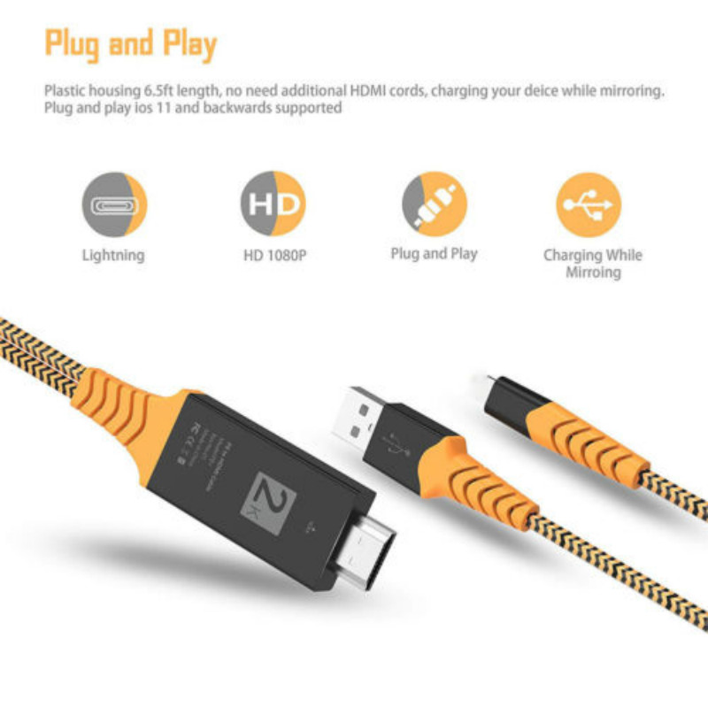 8 Pin 2m Lightning to 1080p HDMI Cable HDTV AV TV Adapter Cord for iPhone 8 X XS Max