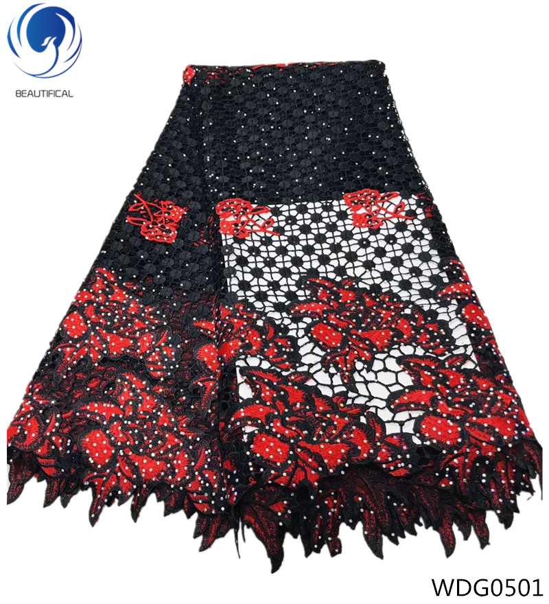 Beautifical guipure lace latest african cord lace fabrics water soluble lace fabric with stones for bridal dress 5yards WDG05Beautifical guipure lace latest african cord lace fabrics water soluble lace fabric with stones for bridal dress 5yards WDG05