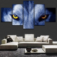 5 Pieces Fierce Wolf Eyes Pictures Wall Art Animals Poster Home Decorative Modular Framework Modern Canvas HD Printed Paintings