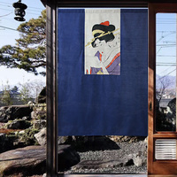 Japanese style Ukiyoe painting portrait of a lady door curtain separation half curtain hanging beauty picture home decoration