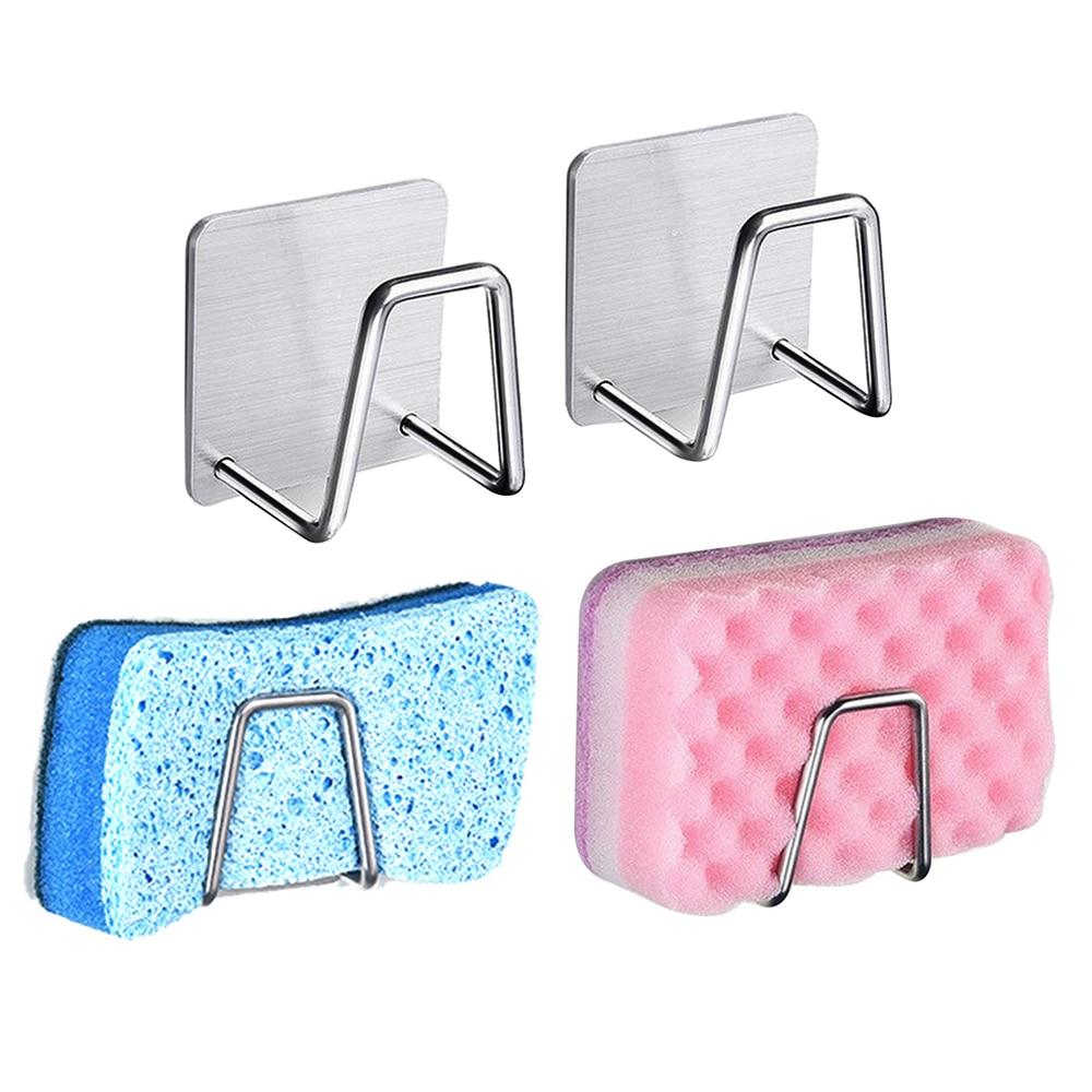 1 Pc  Durable Sponge Holder Brush Bathroom Drying Rack Stainless Steel Sponge Drain Rack Dishwashing Dish Cloths Holder Clip