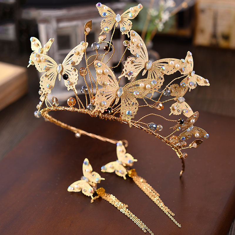 Baroque Gold Metal Butterfly Headband Hairband Gold Crown Tiara Wedding Hair Accessories Bridal Vintage Head Jewelry Headdress купить в Москве 2019