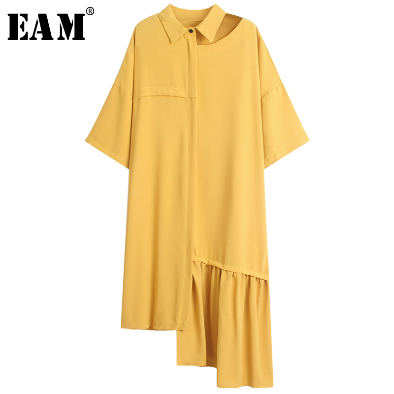 [EAM] 2020 New Spring Summer Lapel Short Sleeve Hollow Out Hem Pleated Loose Irregular Shirt Dress Women Fashion Tide JS277