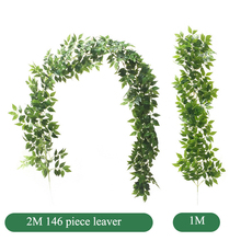 2M Artificial Fake Leaf Eucalyptus Leave Grass Vine Simulation Leaves Wedding Party Home Room Decoration Table Arch Decor