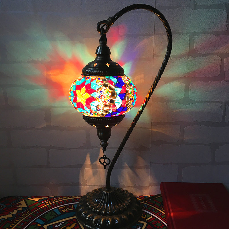 Artpad grande taille cygne Style Vintage rétro turc mosaïque lampe de bureau pour chambre salon vitrail LED lumières turques