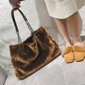 Image 3 - AEQUEEN נשי Bolsa יוקרה פו פרווה לנשים חורף תיק גדול קיבולת כתף תיק נקבות Tote למעלה ידית תיק