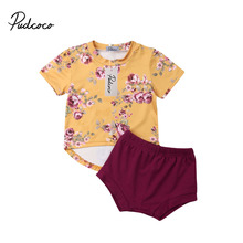 pudcoco 2019 Baby Girl Clothes Newborn For Female Outfit Infant Clothing Set Summer Suit 2Pcs Flower Tops + Blooms 0-2 Years