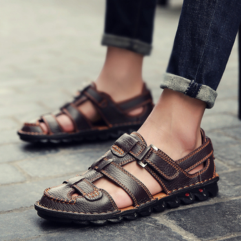 2019 Comfortable Handmade Men Sandals Genuine Leather Soft Summer Men's Shoes Retro Sewing Casual Beach Shoes Big Size 38-48