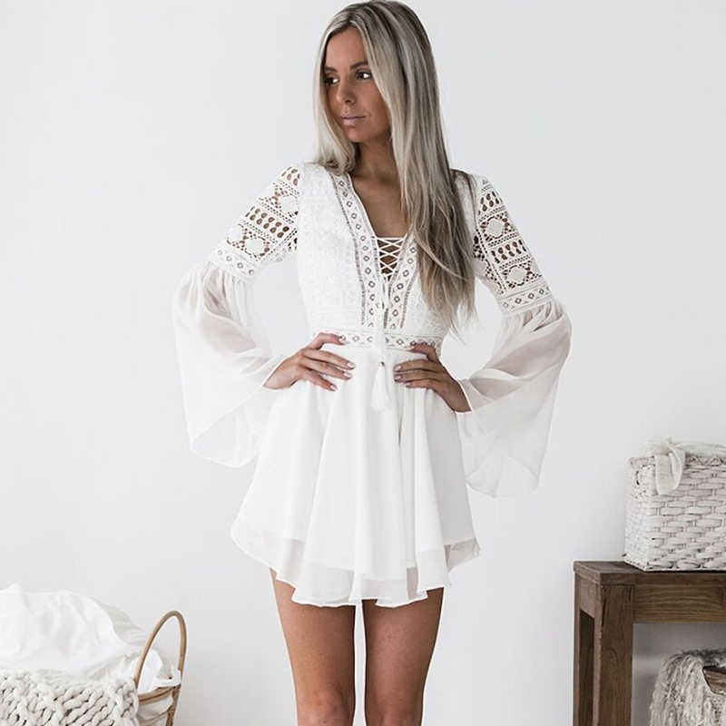 128d122122e Sexy Deep V-neck Hollow Out Mini Dress 2019 New Arrival White Lace Crochet  Summer