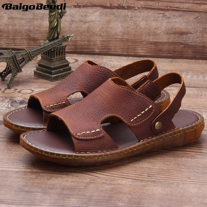 Middle-aged and old people Summer Sandals Real Lether Soft Slides Casual Slippers Man
