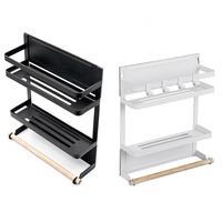 Multi function Storage Rack Magnetic Refrigerator Rack Magnets Kitchen Storage Shelf Paper Holder Organizer Wall mounted Hanger