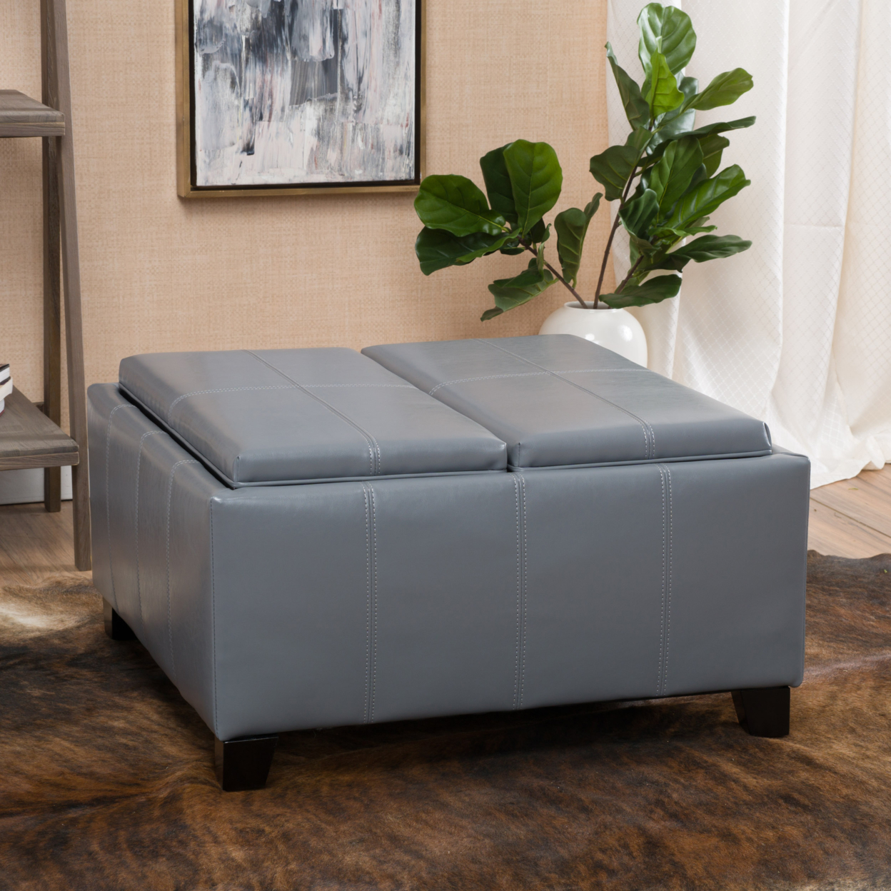 Justin 2 Tray Top Gray Leather Ottoman Coffee Table W